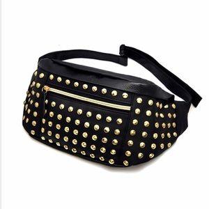 Handbags - 💥NEW ARRIVAL💥 HOT🆕GOLD STUD BLACK STUDDED FANNY
